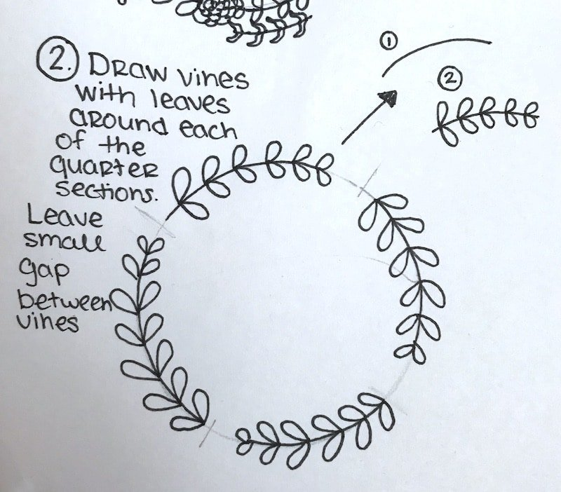 Drawing simple floral wreath step by step