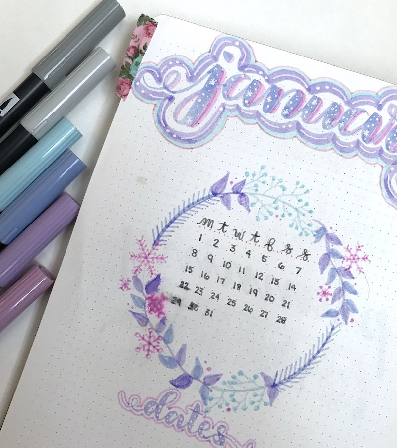 January Cover Page with Floral Wreath. Learn to draw your own floral wreath in a few simple steps