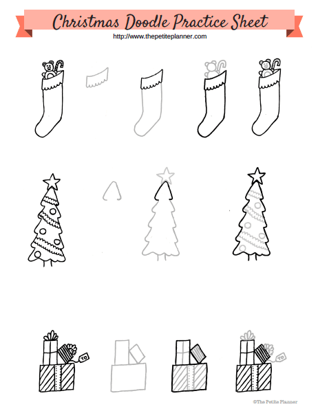 Christmas Doodle Practice sheet.. free printable