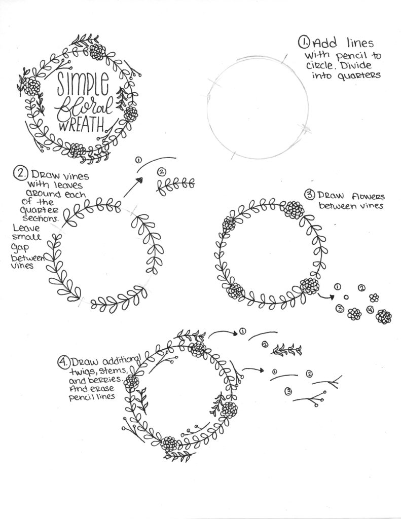 How To Draw A Simple Floral Wreath The Petite Planner