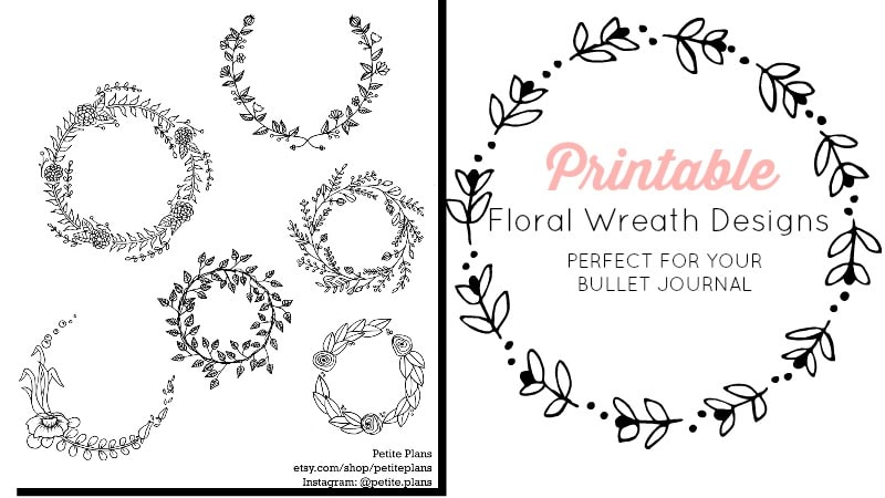 Printable Floral Wreath Stickers for Your Bullet Journal