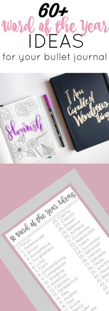 Pick your Word of the Year for you Bullet Journal with this massive list of inspirational and motivational words.