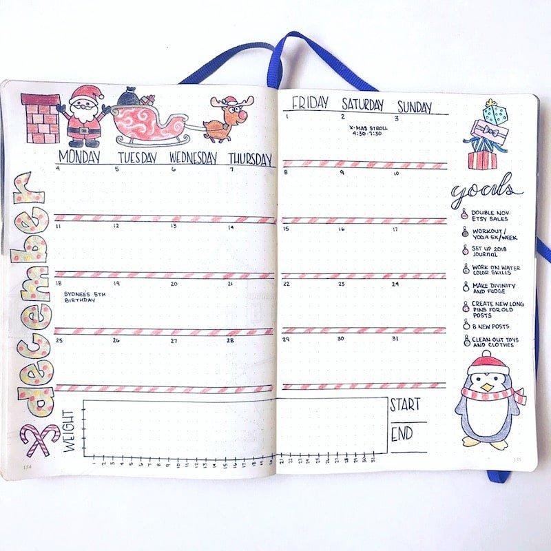 December Bullet Journal Layout