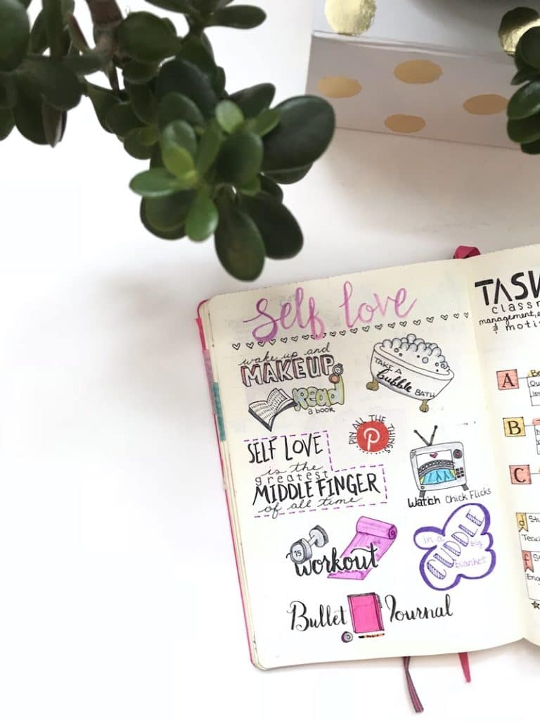 Self-Care Page in Your Bullet Journal