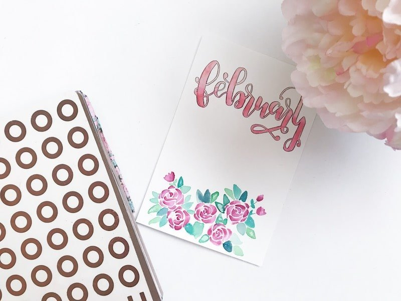 Free Printable February Bullet Journal Cover Page