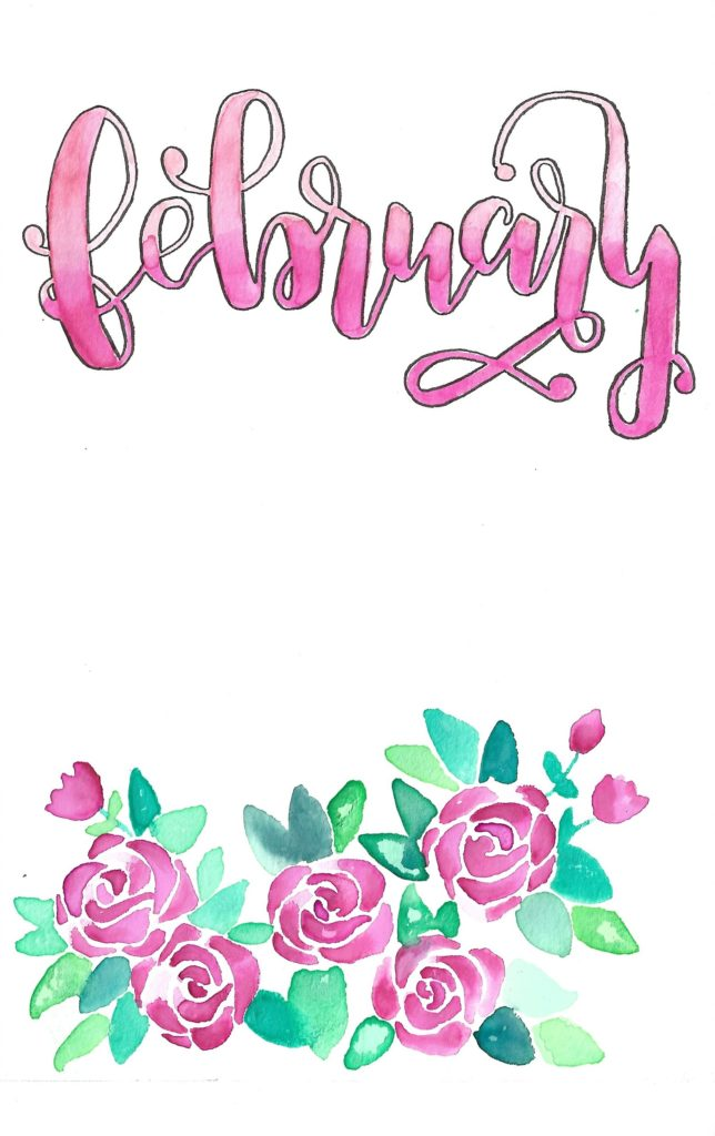 february 2018 bullet journal inspiration free printable cover page