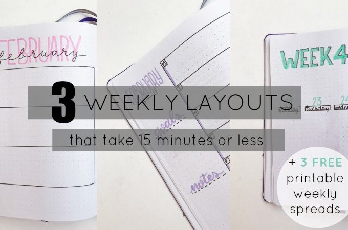 3 Super Simple Weekly Layouts to Try in Your Bullet Journal