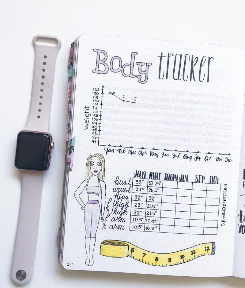 Weight Loss Tracker in Bullet Journal