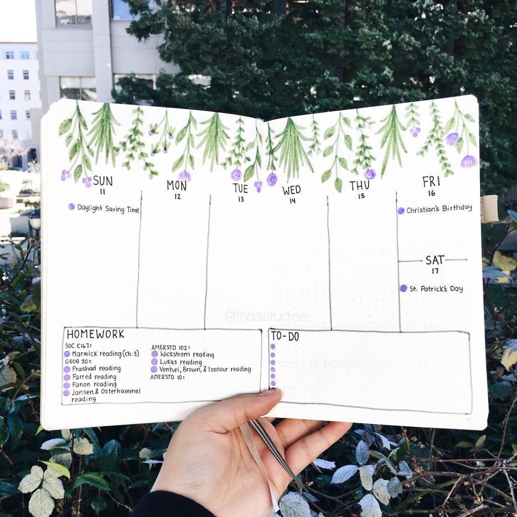 15 Incredibly Beautiful Weekly Spreads. Spread by @fridastudies