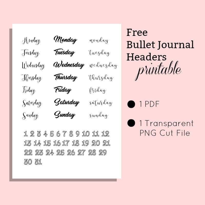 Free Printable Bullet Journal Headers and Cut File