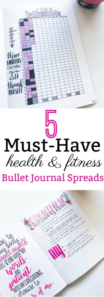 5 Must-Have Health and Fitness Bullet Journal Spreads if you're trying to lose weight