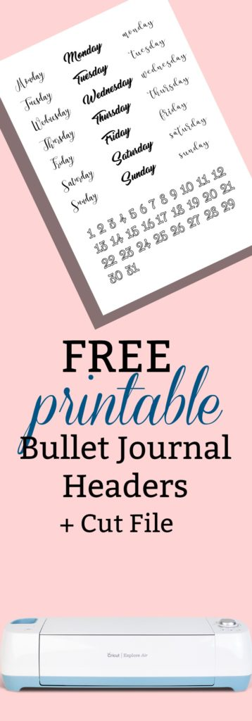 Free Printable Bullet Journal Headers and Cut File for Cricut