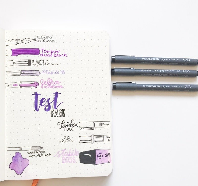 Staedtler Pigment Liners best for Bullet Journalling