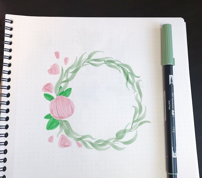 Floral Wreath with Tombows