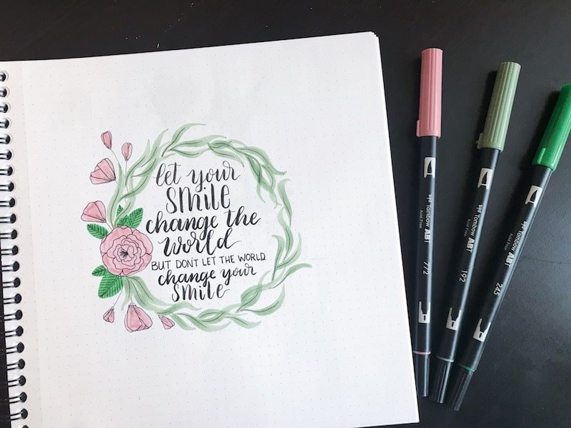 Step-by-Step Floral Wreath with Tombow Dual Brush Pens