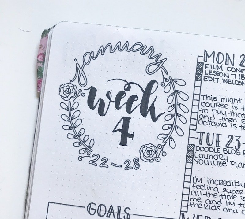 Simple Wreath Header with Brush Lettering