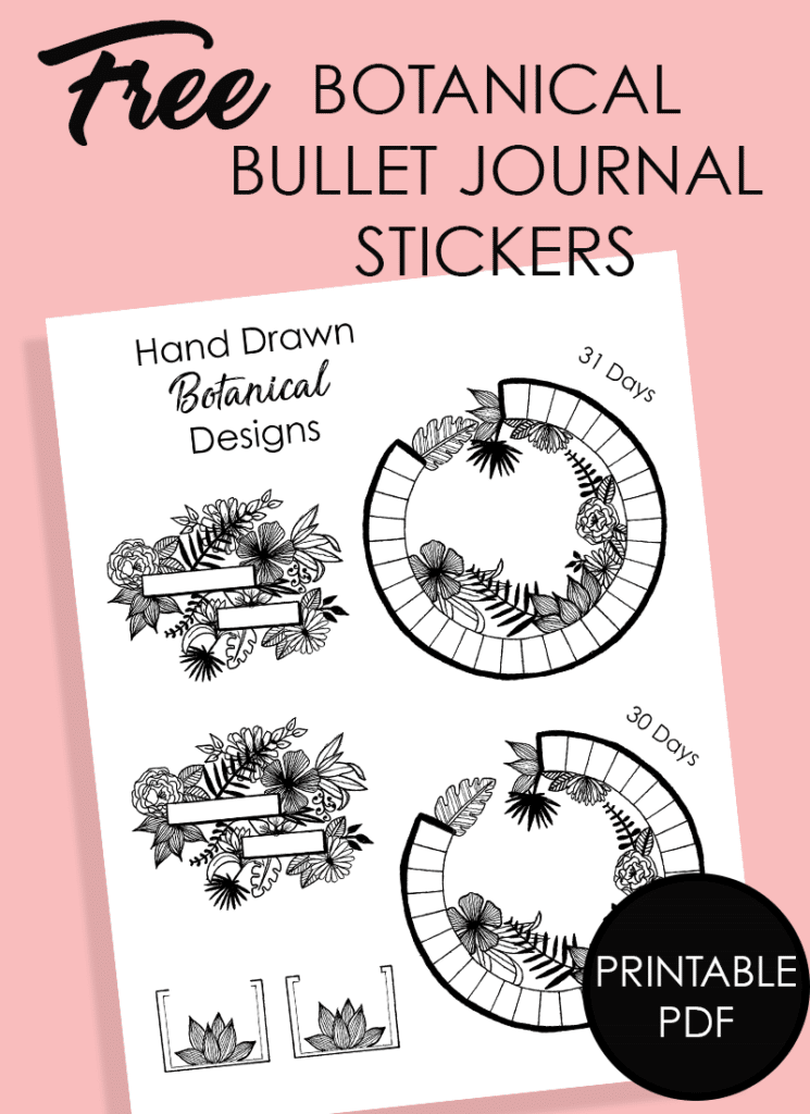 Free Bullet Journal Printable: Hand Drawn Floral Headers and Circular Calendar