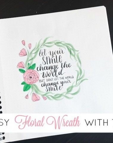 7 Step Easy Floral Wreath with Tombow Dual Brush Pens
