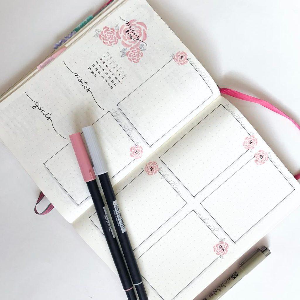 Pink Floral Weekly Spread in Bullet Journal