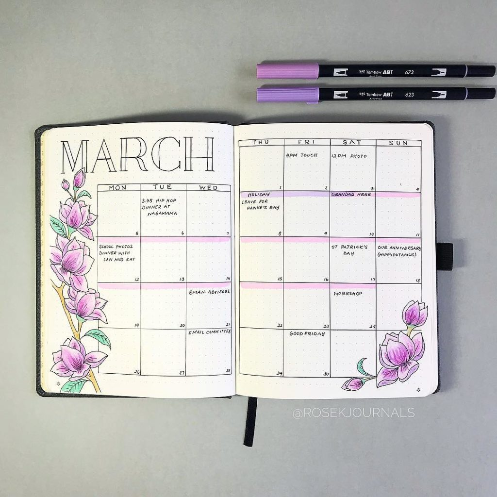 Pink Bullet Journal Monthly Setup
