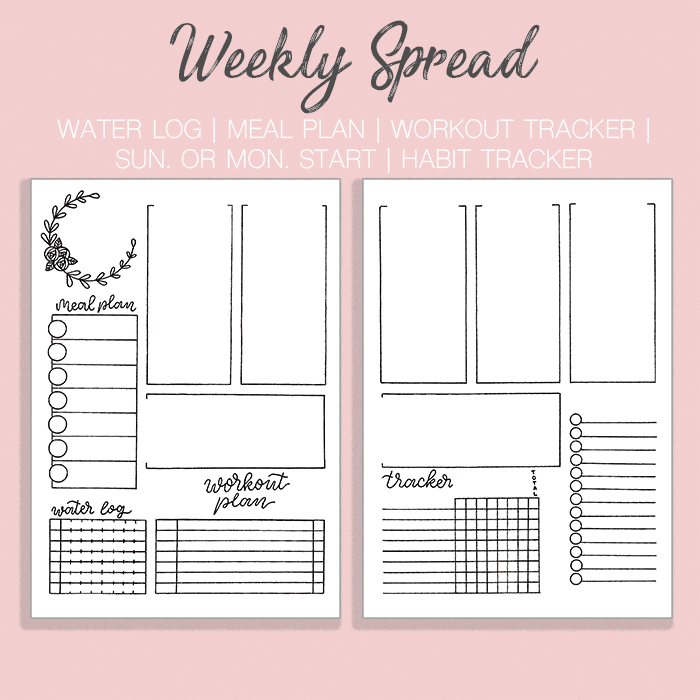 Superb image in bullet journal monthly spread printable