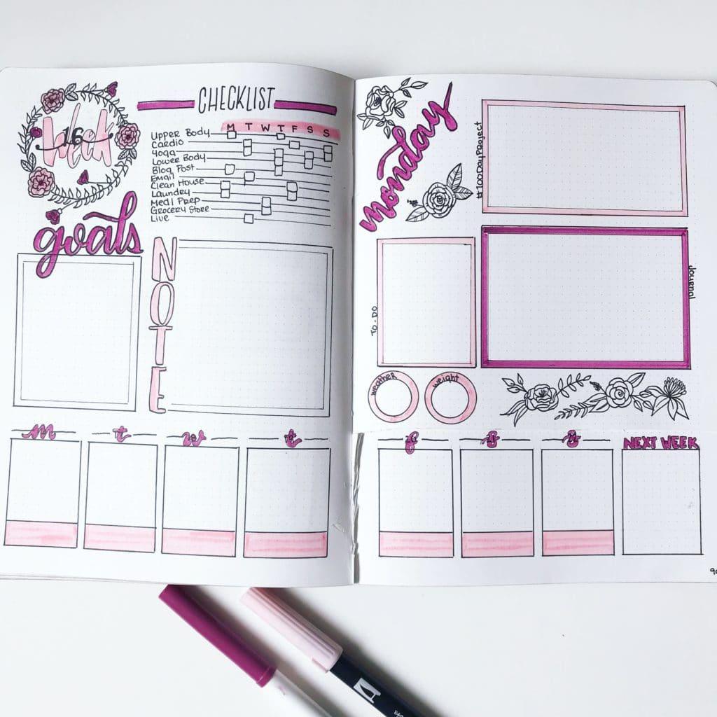Pink Dutch Door Weekly Spread via @the.petite.planner