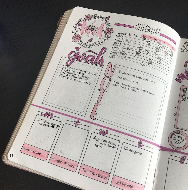 Dutch Door Weekly Spreads in your bullet journal