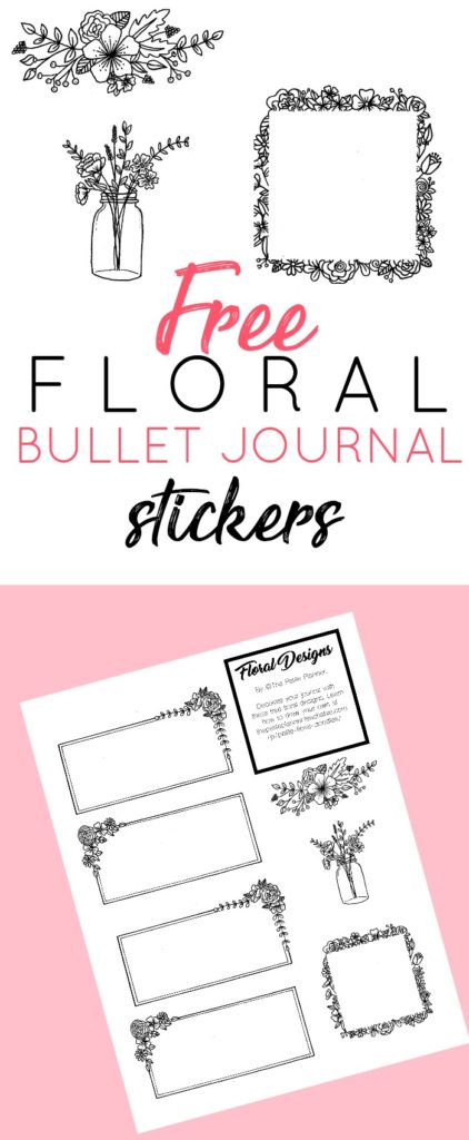 Snag this Free Bullet Journal Printable with hand-drawn floral designs perfect for your weekly and monthly spreads