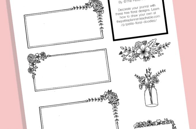 Free Bullet Journal Printable: Floral Doodle Boxes