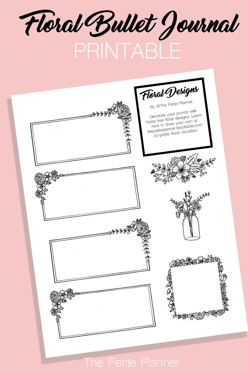Free Bullet Journal Printable: Floral Designs