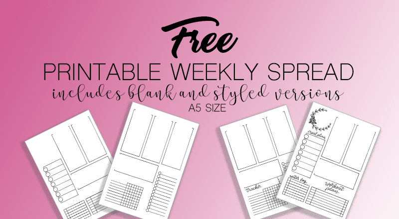Free Printable Bullet Journal Weekly Spread A5 size