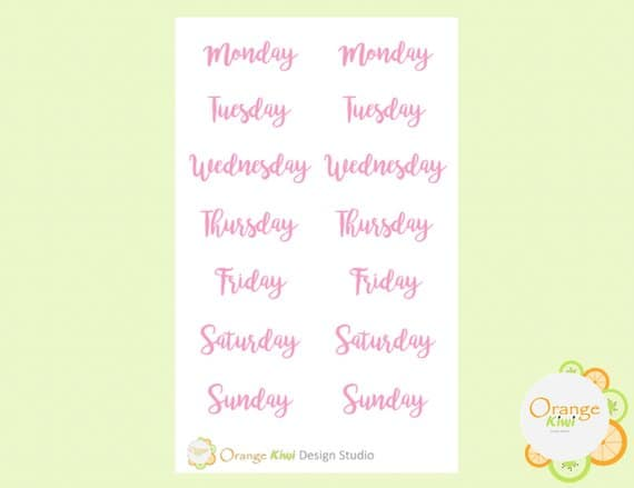 Pink Weekday Headers for Your Bullet Journal