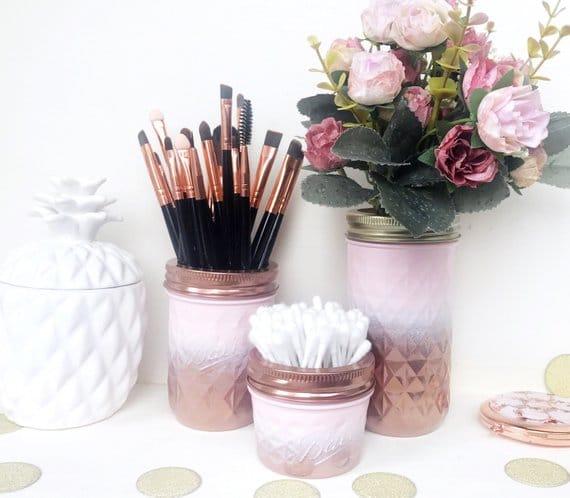 Pink and Gold Painted Mason Jar Organizer