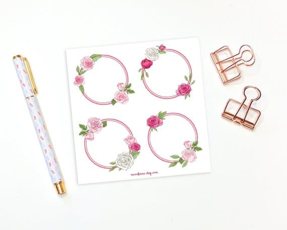 Pink Floral Wreath Stickers