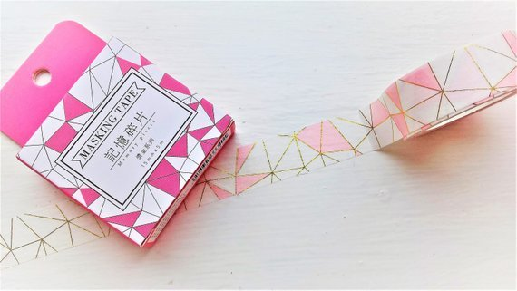 Geometric Pink and Gold Washi Tape