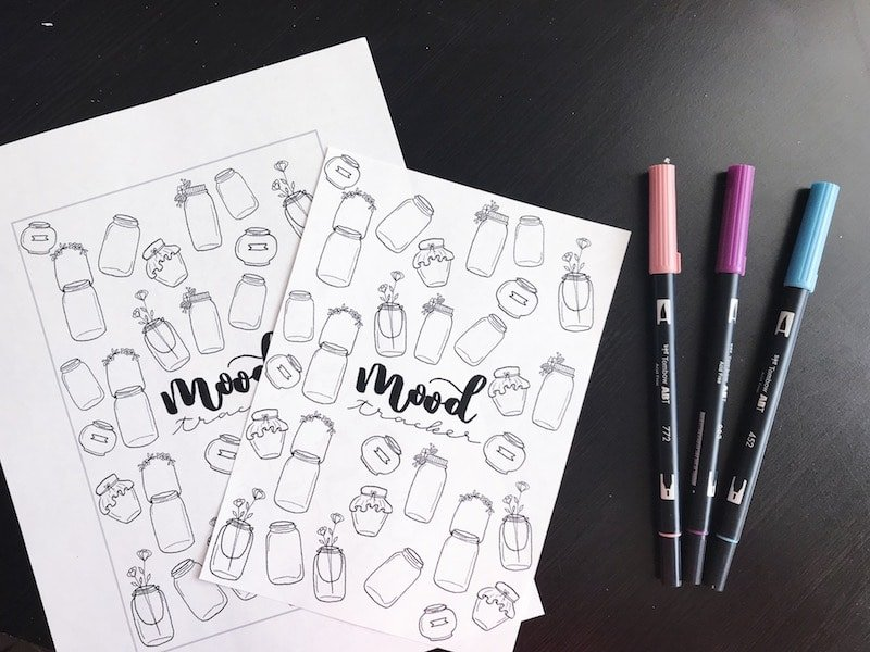 Free Printable Mood Tracker with Mason Jar Doodles