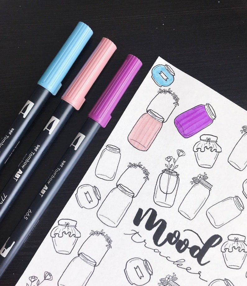 Mason Jar Doodles Mood Tracker for Your Bullet Journal