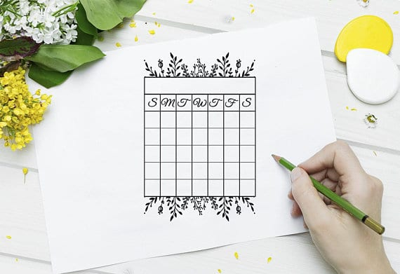 Floral Tracker Stamp for bullet journal