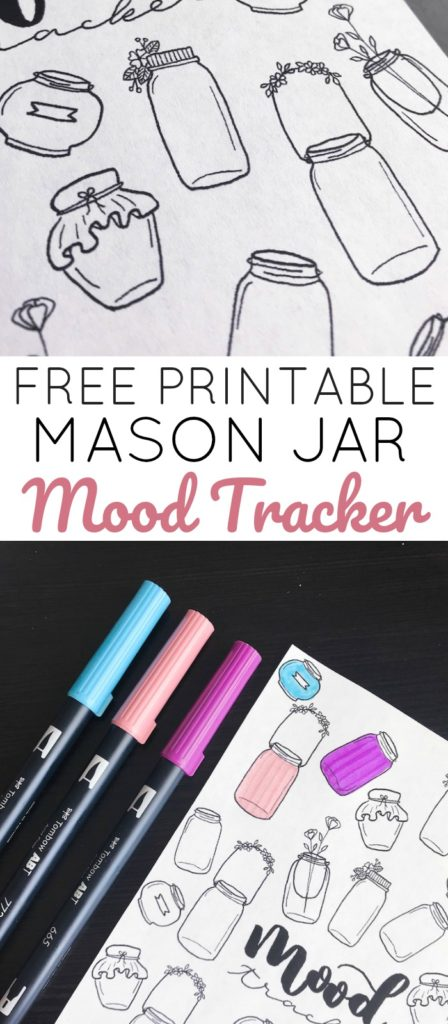 Snag this Free Printable Mood Tracker for Your Bullet Journal. With cute mason jar doodles and 30 or 31 day options.