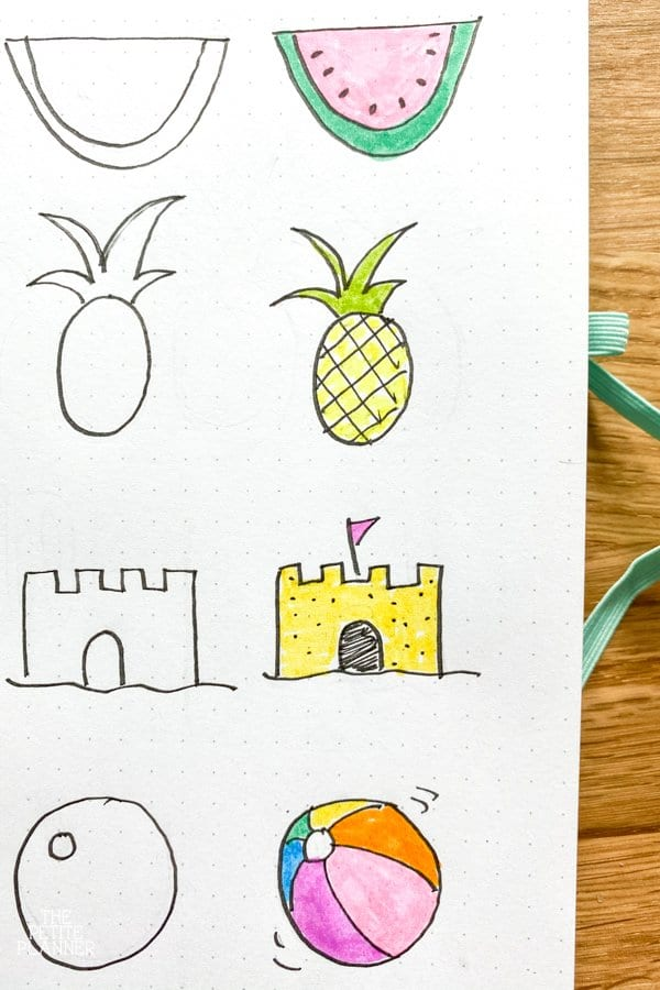 Summer doodles including watermelon, pineapple, sandcastle, and beach ball