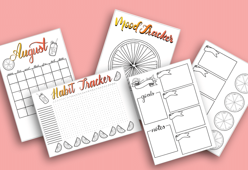 August 2018 Printable Bullet Journal Monthly Setup