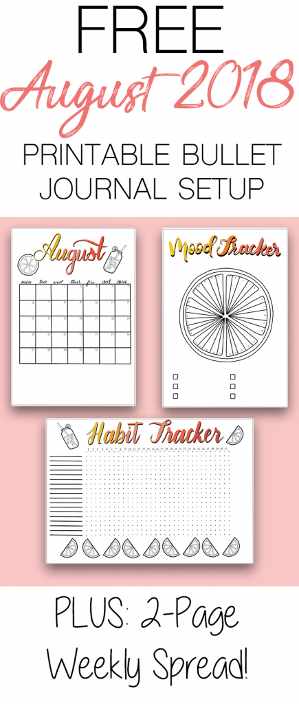 Free August 2018 Bullet Journal Printable Setup