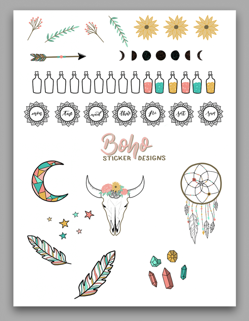 Free Printable Bullet Journal Stickers: Boho Inspired