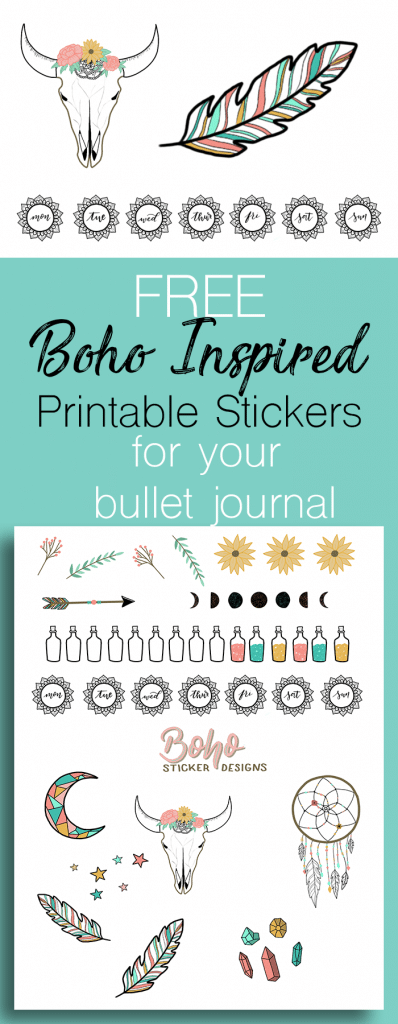 Free Printable Boho Doodle Stickers for Your Bullet Journal