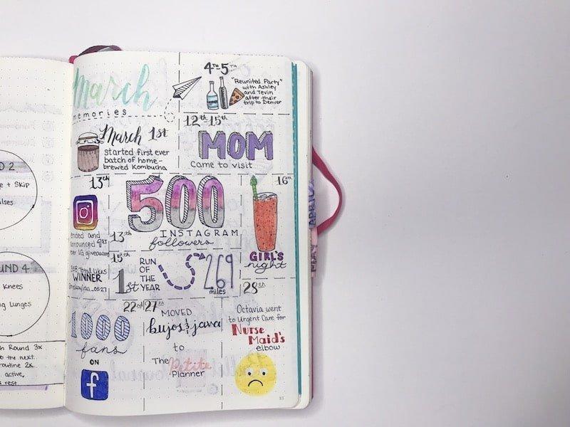 Monthly Memories in your bullet journal