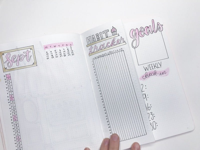 Creating a Goals and Weekly checkin page in your monthly layout