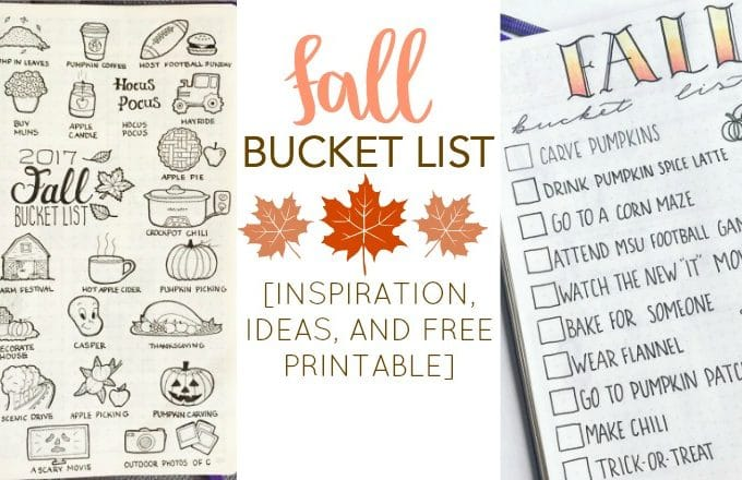 Fall Bucket List Inspiration for Your Bullet Journal + FREE Printable