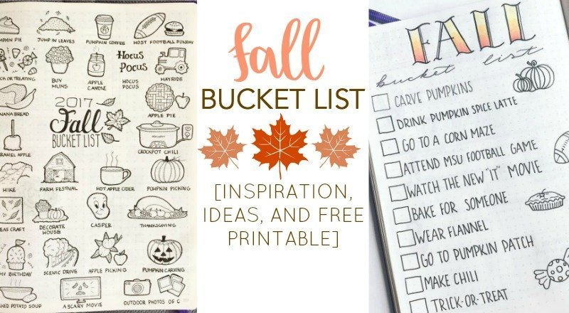 Fall Bucket List Inspiration For Your Bullet Journal Free