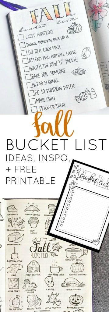 Fall Bucket List Inspiration, Ideas, and Free Printable for Your Bullet Journal