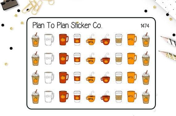 Pumpkin Spice Latte Planner Stickers